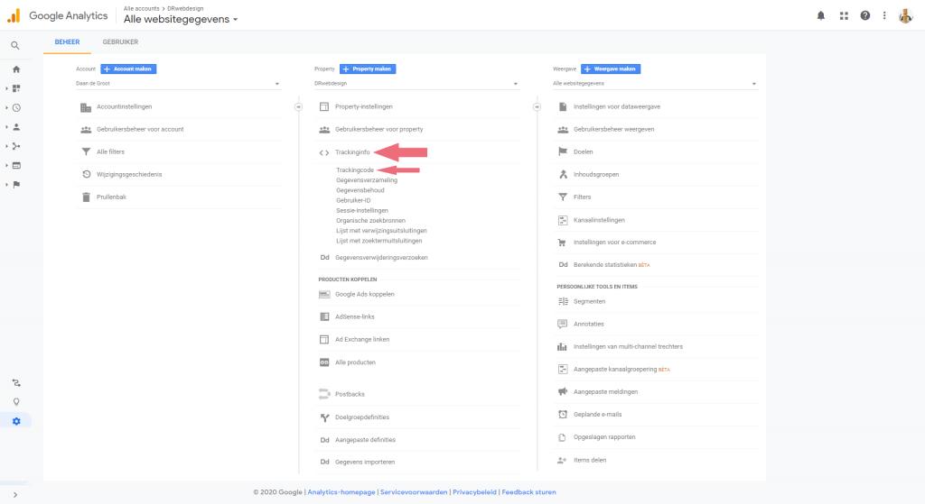 Google Analytics tracking-id vinden