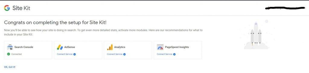 Google Site Kit Dashboard bovenkant