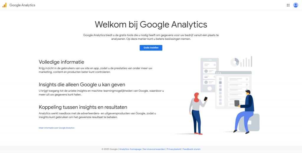 Google Analytics landingspagina voor nieuwe gebruikers